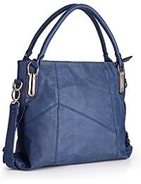 Women Handbags, Women Bag, Large Shoulder Bag Zipper Pocket Kingh Tote Bags Pu Leather 009 Blue