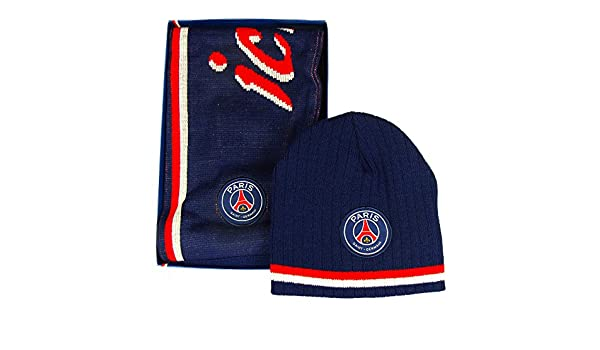 984a14c4a73 PSG - Official  PSG Fan  Gift Box with Winter Hat and Scarf - Blue   Amazon.co.uk  Clothing