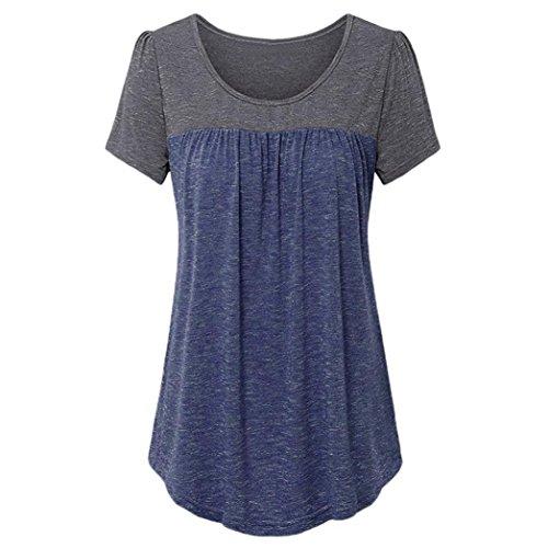 GreatestPAK T-Shirt Shirt Damen Kurzarm Plissee Vorderteil Tunika Top,Blau,XL (Anzug Damen Ed Hardy)