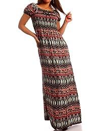 Damen Maxikleid Carmen Ausschnitt Kleid Lang