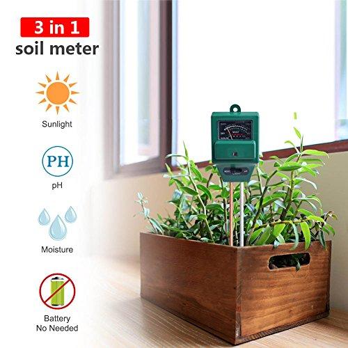 3-in-1 Bodentester bodenmessgerät für pflanzen, Boden Feuchtigkeit Meter, ph tester boden Lichtintensität für Rasen, Garten, Bauernhof, Keine Batterie erforderlich (quadratisch)