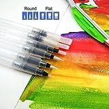 XiDe 6 Stück Wasserpinsel Stifte, Aquarellstifte, Water Brush Pens, Mobile Wasserfarben Wasserpinsel, Aquarellfarben Wassertank Pinsel, Aquarellzeichnen Kalligraphie mit Auffüllbarem Wasserbehälter
