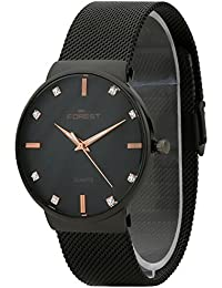 Forest Black Dial Black Metal Strap Slim Look Analogue Wrist Watch For Mens & Boys (FST-0008)
