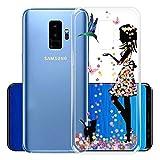 """IJIA Custodia per Samsung Galaxy S9 Plus (6.2"""") Trasparente Uccello Gatto Gonna Floreale Ragazza TPU Silicone Morbido Protettivo Coperchio Skin Custodia Bumper Protettiva Case Cover"""