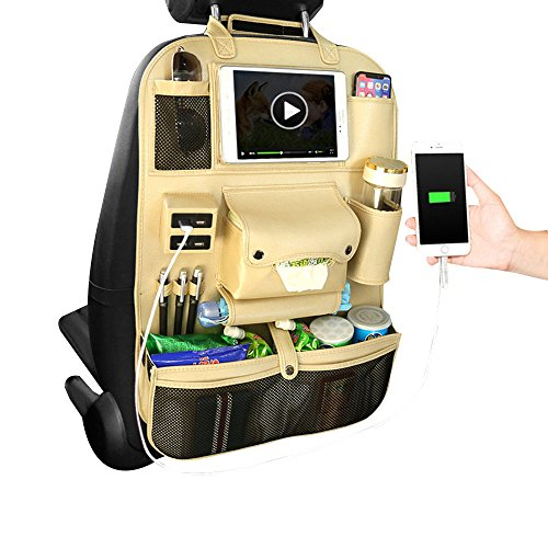 Pawaca Autositz-Zurück-Organisator, PU-Lederner Selbstrückseiten-Schutz-Aufbewahrungsbeutel iPad Mini-Halter mit USB-Port, Flaschen-Tasche, Gewebe-Kasten, Regenschirm-Speicher(Champagner)