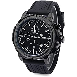 Leopard Shop SKONG 5148EG Men Sport Quartz Wrist Watch Analog Date Chronograph Silicone Band Military Black