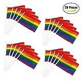 Jazzka Regenbogenflagge Rainbow Flagge Homosexueller Stolz Lesbischer Frieden LGBT Banner Festival Karneval 21 x 14 cm 20 Stück