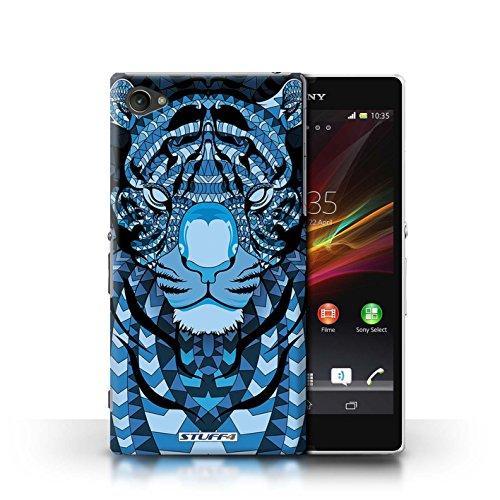 Kobalt® Imprimé Etui / Coque pour Sony Xperia Z1 Compact / Loup-Mono conception / Série Motif Animaux Aztec Tigre-Bleu