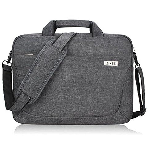 Zikee 17,3 Zoll (43,9 cm) wasserfeste und 360° stoßfeste Messenger-Bag als Schutz für Ihren Laptop/Notebook mit Handgriff und Schultergurt für Schule, Studium, Reisen und im Büro und für geschäftliche Nutzung (Grau)