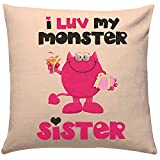 #10: Rakhi Gifts Love Monster Sister Cushion (Rakhi Gifts Cushion:12x12 inches)Gift for Brother, Birthday Gift for Brother, Birthday Gift for Sister, Gift for Sister, Birthday gift, Anniversary Gift, Cushion with filler, Cushion cover, Cushion By Gift World