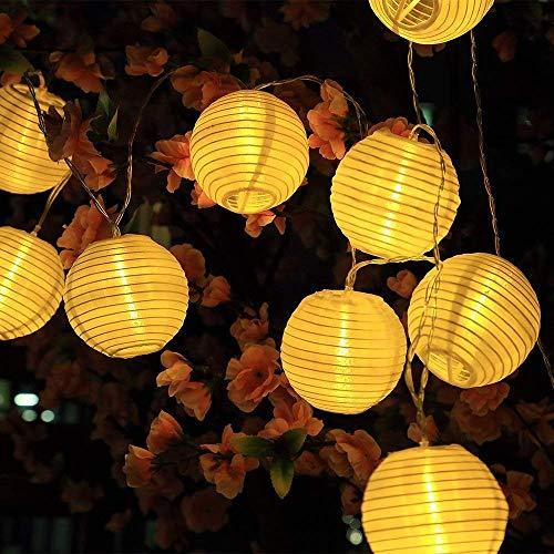 SunJas Solar Lichterkette, 20 LEDs 4,8 Meter/30 LEDs 6 Meter Lampions, Laterne Solarleuchten丨Garten Innen- und Außenbereich warmweiß bunt für Party Weihnachten Outdoor Fest Deko (30 LEDs warmweiß)