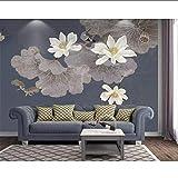 Lovemq Murale Carta Da Parati Personalizzata Foto Blu Pastello Colore Lotus Soggiorno Divano Tv Sfondo Muro Murales Decorazione Della Casa 3D Carta Da Parati-360X250Cm