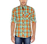 Nick & Jess Mens Orange & Green Checkered Mandarin Collared Slim Fit Cotton Shirt