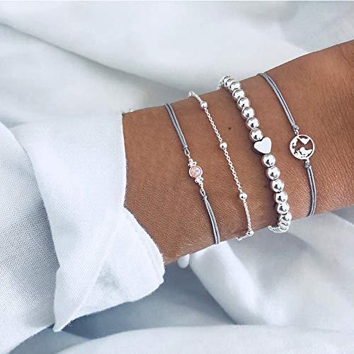 ,4 Stück/Stück Böhmischen Charme Perlen Armband Weiblichen Quaste Armband Set Schmuck Geschenke Silber ()