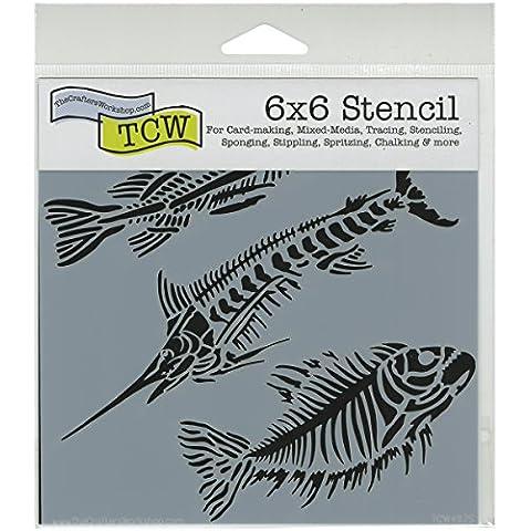 Crafters Workshop-Stencil, in plastica, 15 cm x 15 cm, motivo: pesci Fossils