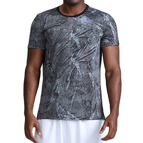 Performance T-Shirt, Atmungsaktiv Herren Sport Kurzarmshirt Top Camo Print Shirt Schnell trocknend für Training Gym Fitness & Bodybuilding Camo Button