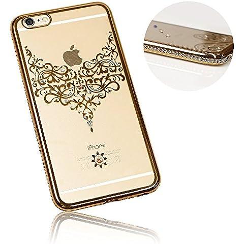 Xtra-Funky Serie iPhone 5 / 5S / 5C / SE Sottile Custodia in Silicone con Cristallo Scintillante Bordatura & Laccio Damasco - Oro
