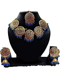 Apsara Art Jewellery Rakhi Special Collection Gold Plated Kundan Blue Pearl Traditional Necklace Set For Women...