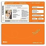 (20 x) Hochzeitseinladungskarten Flugticket Boarding Pass orange Einladungskarten Hochzeit