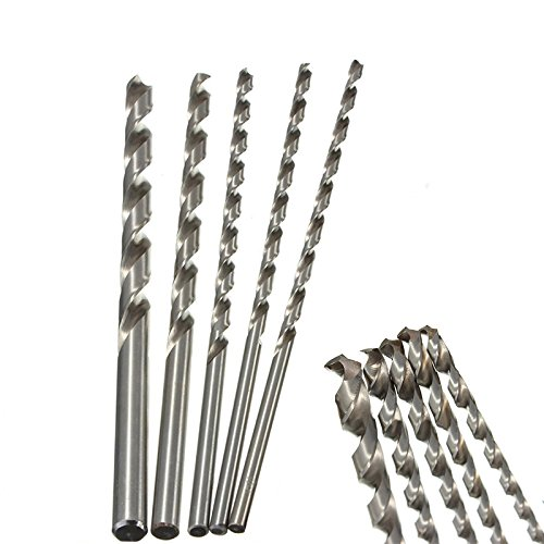 Spiralbohrer Set Extra Lange HSS Direkt Schaft Bohrer Bit 200mm, 4/5/6/8/10mm Durchmesser
