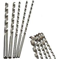 5pcs Ronda de vástago recto Brocas helicoidales extra larga para Metal herramientas eléctricas 200mm, 4–10mm de diámetro