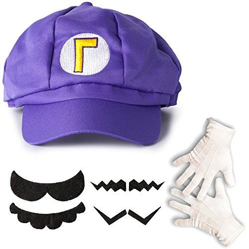 Lila Super Mario Waluigi Kostüm-Set Mütze, Handschuhe, Bart für Erwachsene oder (Mario Luigi Figur Kostüme Und)