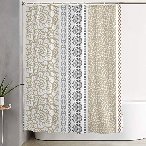 GUUi Shower Curtain Waterproof Washable Bath Curtain,Vintage Vertical Borders with Abstract Blossoms and Classical Victorian Motifs,for Bathroom with 12 Hooks -
