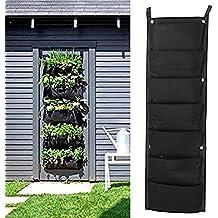 Richoose 7 de la bolsa vertical de fieltro montado en la pared el cultivo de plantas estéreo bolsa de la planta crece contenedores Bolsas de estar colgados de la pared Plante, Negro