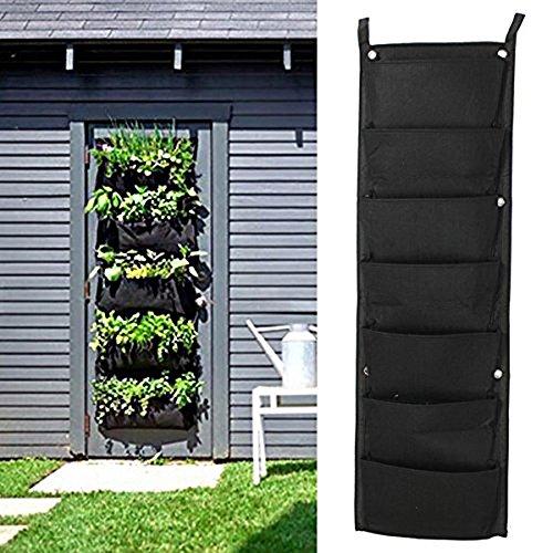 Richoose 7 Pocket Vertical Felt mural Culture stéréo usine Sac plante pousse conteneurs Sacs Vivre mur Plante, Noir Hanging
