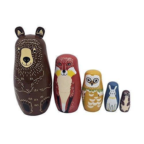 AOLVO Juego de 5 muñecas de madera de Pascua con Oso King Snowman conejo búho pintura hecha a mano muñeca rusa matryoshka dibujos animados juguete patrón regalo