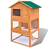 vidaXL Outdoor Rabbit Hutch Small Animal House Pet Cage 3 Layers Wood