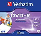 Verbatim DVD+R 16x Speed Printable Surface Jewel Case 10er Pack