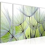 Bilder Blumen Pusteblume Wandbild 150 x 60 cm Vlies - Leinwand Bild XXL Format Wandbilder Wohnzimmer Wohnung Deko Kunstdrucke Grün 5 Teilig - MADE IN GERMANY - Fertig zum Aufhängen 206156a