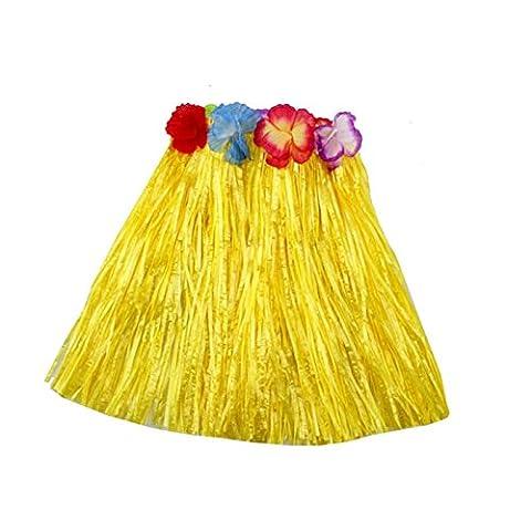 HuaYang Blumen Hula Gras Rock Phantasie Kurz Kleid Armband Kostüm Rock für Kinder Mädchen(Gelb)