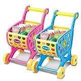 Edited Klassisch Kinder Einkaufswagen Spielzeug Frühe Erziehung Kinderspielzeug Lernspielzeug Lauflernwagen Kaufläden mit den Obst-, Gemüse- und Nahrungsmittelsatz für Rollenspiel (Rosa)