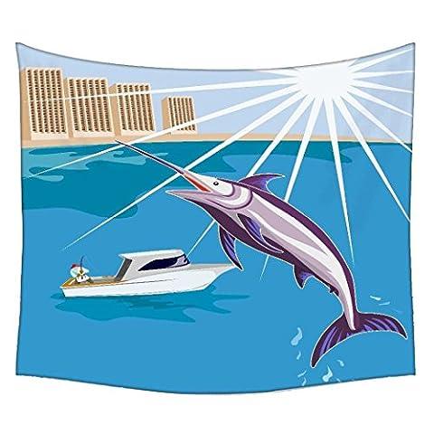 Blue Marlin poisson Jumping Retro à suspendre dans la chambre mural mur indienne Mandala Tapisserie Suspension de tapisserie décoratif plage pique-nique feuille, Hippie Tapisserie de mur tapisserie, Bohemian Tapisserie 40 x 60 multicolore