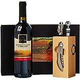 Geschenk Set Buche-Block mit Wein-Accessoires und 0,75 l Rotwein