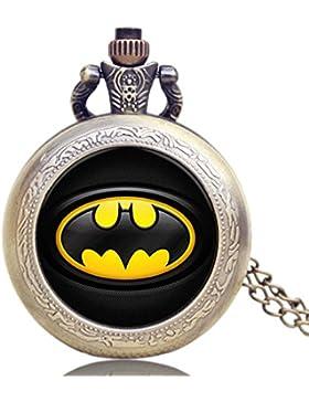 Batman Logo Antik Bronze Effekt Retro/Vintage Case Herren Quarz-Taschenuhr Halskette–auf 81,3cm Zoll/80cm...