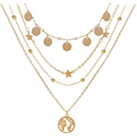 Shining Diva Fashion Latest Layered Western Non Precious Base Metal Cubic Zirconia Golden Neck Chain Pendant Necklace…