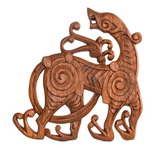 Windalf Pagan Vikinger - Cuadro de Pared (38 cm, Hecho a Mano, Madera), diseño de dragón Vikingo