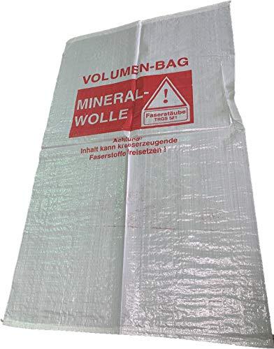 20er-Pack Mineralwolle Säcke 140x220 cm Rockwolle KMF-Gewebesack Entsorgung Dämmung, mit Warndruck