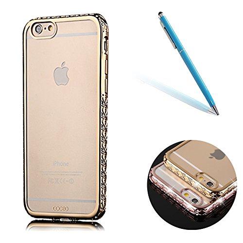"""iPhone 6sPlus Hülle Glitzer-Strass Case, CLTPY iPhone 6Plus Schutzfall Plating TPU Transparent Dünne Handytasche im Elegante Stylisch Series, Luxus Bling Schale für 5.5"""" Apple iPhone 6Plus/6sPlus (Nic Goldkristall"""