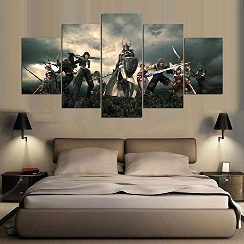 214 Home-office (CXDM Final Fantasy Serie Bild Drucke auf Leinwand 5 Panels Wandbilder Moderne Giclee-Grafik Für Home Office-Dekorationen,A,20x30x2+20x40x2+20x50x1)