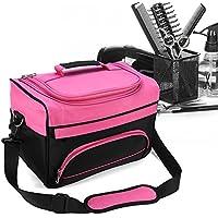 Bolsa profesional de herramientas de peluquería con correa para el hombro, bolsillos para accesorios e interior personalizable, ideal para secadores, planchas, rulos, pinzas y cepillos