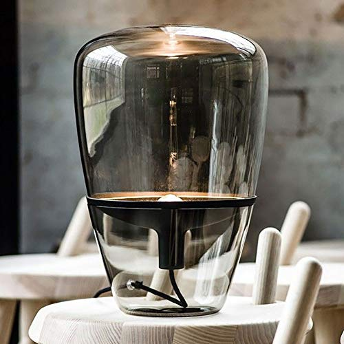 Moderne Stahl-kaffee-tisch (Vinmin Glas Tischlampe, Moderne Glas Tischlampe, postmoderne Rauch grau Glas Tischlampe Tischlampe mit Klarglas und Stahl Basis für Schlafzimmer Wohnzimmer Kaffee Schreibtischlampe,M)