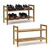 2 x Schuhregal Walnuss im Set, Schuhaufbewahrung stapelbar, Schuhablage mit je 2 Etagen, offen, je 6 Paar Schuhe, natur