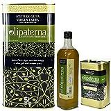 Kaltgepresstes Extra Natives (Virgin) Olivenöl aus Andalusien Olipaterna Säure 0,3 1A | 100% natürliches & reines Olivenöl für Feinschmecker | 5 L Kanister + 750 ml Flasche + 250 ml Kanister