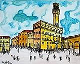 Palacio Viejo de Florencia -La pintura sobre lienzo 50x40cm cm de tamaño. Hecho con la técnica de acrílico, única pieza artesanal por el artista Davide Pacini-MADE IN ITALY Lucca Toscana, certificado