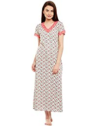 734cc912f Claura Floral Printed Pink and cream color Cotton Nighty Or Nightdress