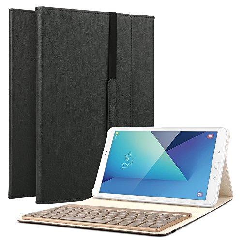 boriyuan Samsung Galaxy Tab A 10.1 Tastatur Hülle, Kunstleder Hülle mit 7 Farben hinterleuchtet abnehmbare Wireless Bluetooth Tastatur(QWERTZ Tastatur) für SM-T580 T585 10,1 zoll - (Schwarz)